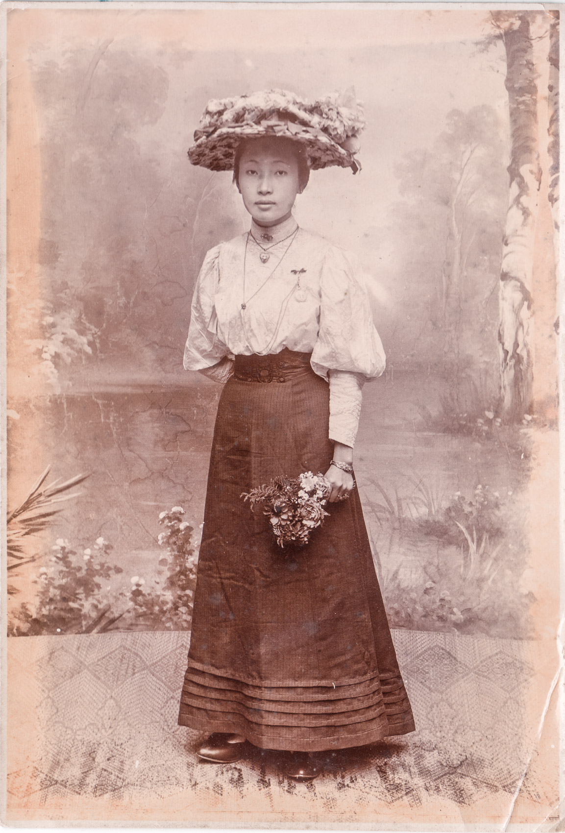 Lie Giok Lin on Dutch Dress, circa 1890s.