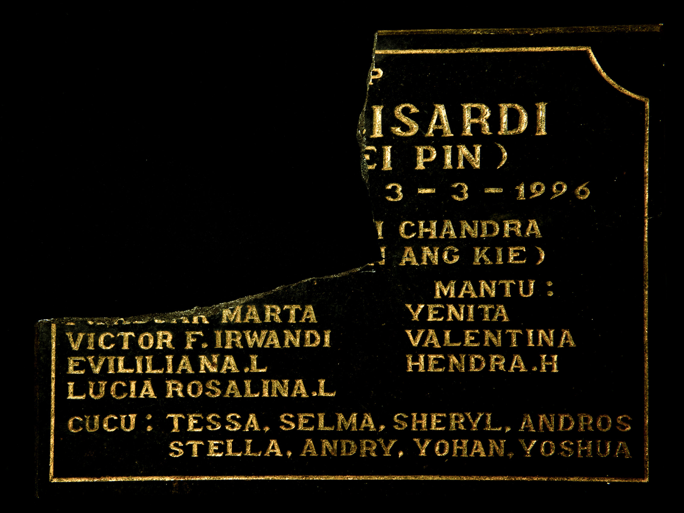 Lie Soei Pin's Tombstone